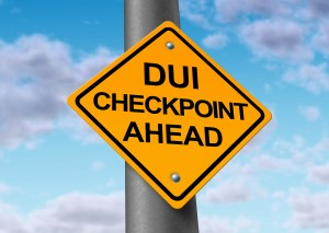 D.U.I and sobriety checkpoint ahead road sign
